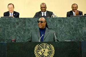 Fotografía Stevie Wonder en la ONU